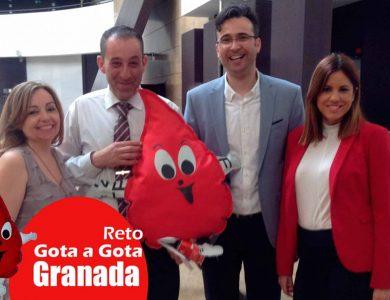Reto gota a gota banco de sangre Granada con Begoña Ballesteros de Mayoball y Angel Pinar
