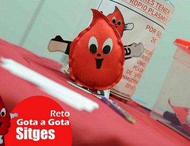Reto gota a gota banco de sangre Sitges con Begoña Ballesteros de Mayoball y Angel Pinar