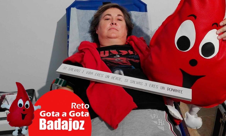 Reto gota a gota banco de sangre Badajoz con Begoña Ballesteros de Mayoball y Angel Pinar
