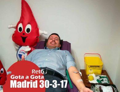 Reto gota a gota banco de sangre Madrid con Begoña Ballesteros de Mayoball y Angel Pinar